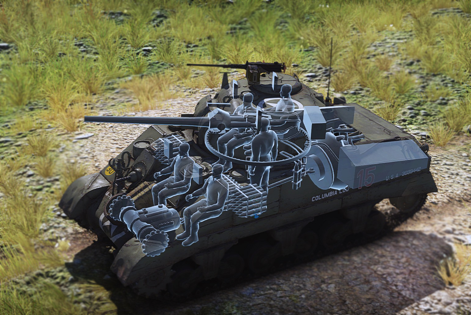 X ray view into a m4 sherman from static warthunder com