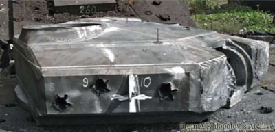 For comparison - the turret of the T-90, as we see only in the right turret cheek, 3 shots were produced by subcalibre projectiles.