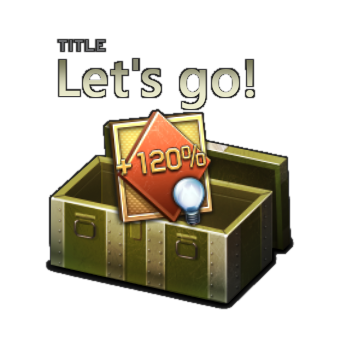 """Let's go!"" in-game title and +120% RP booster for 1 battle (valid for 3 days)"