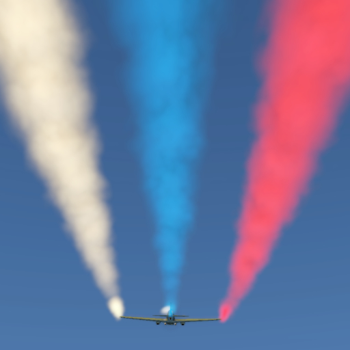 Three-color aerobatic smoke