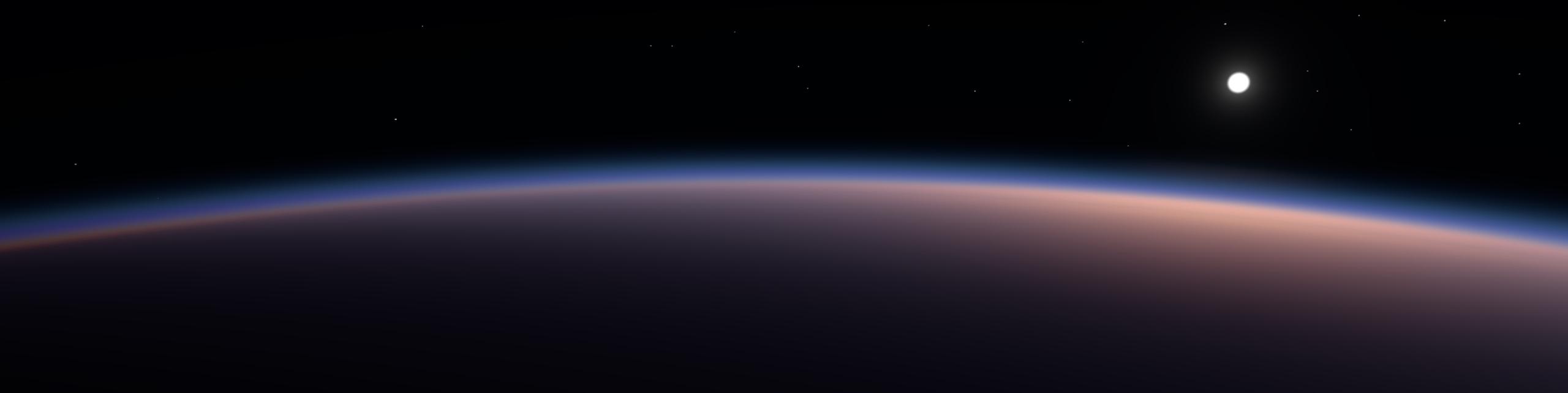 Атмосфера Земли из Космоса, с низкой орбиты в 200 км (игровой движок).