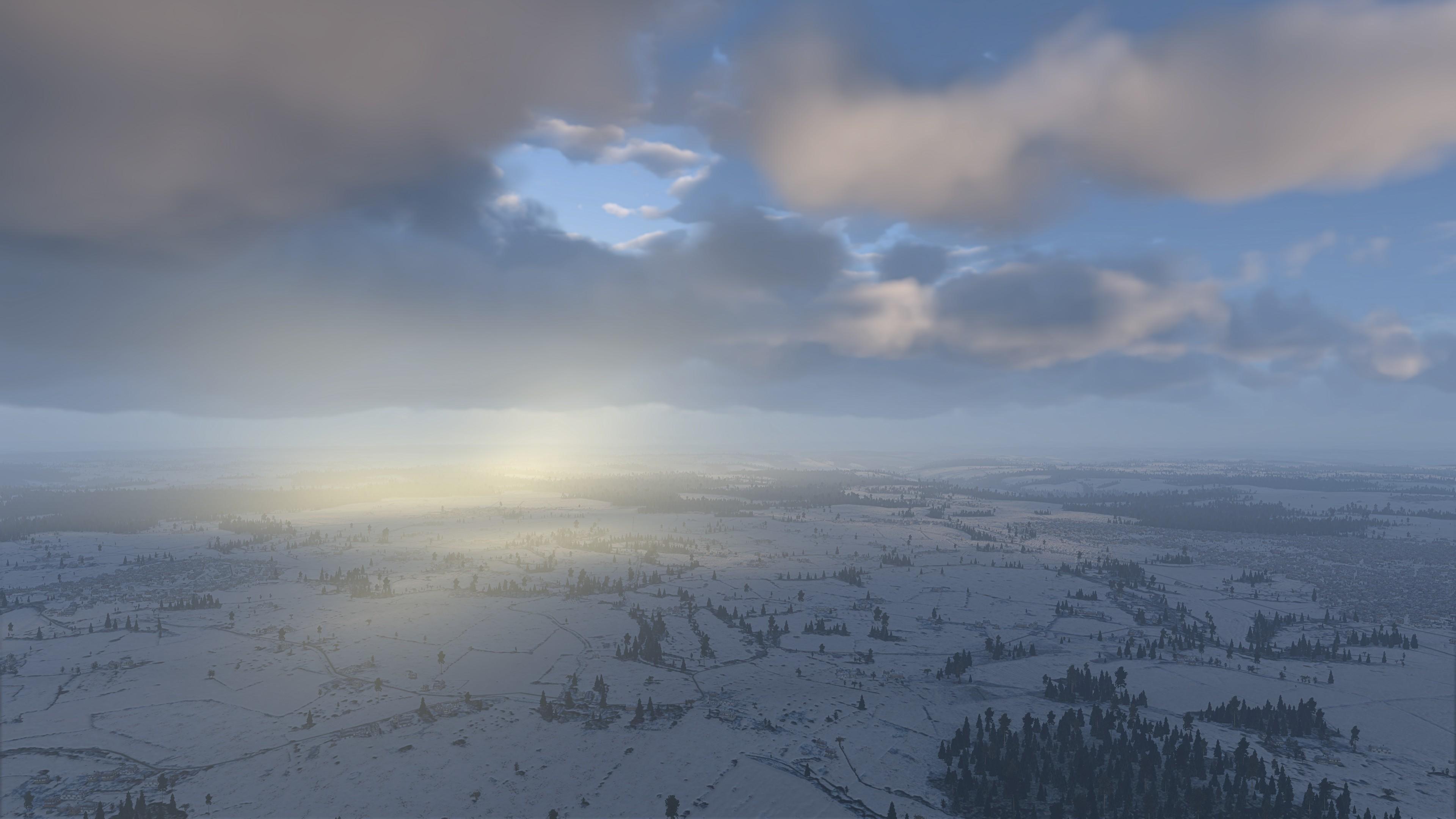 После полудня, противосумеречные лучи, вид с высоты на поверхность земли.