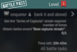 """You can access the """"Battle Pass"""" window through the promo block on the right side of the hangar screen."""