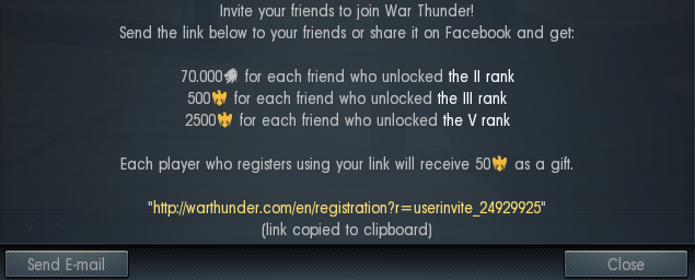 Invite friend game war thunder here you are presented with your personal referral link which is also automatically copied to your clipboard meaning that you can easily paste it anywhere stopboris Choice Image