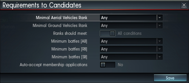 Regiments war thunder you can define the minimum requirements that any aspiring member has to fulfill and select to auto accept fitting applicants automatically stopboris Choice Image